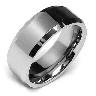 Rings - 8mm Tungsten Carbide Beveled Ring