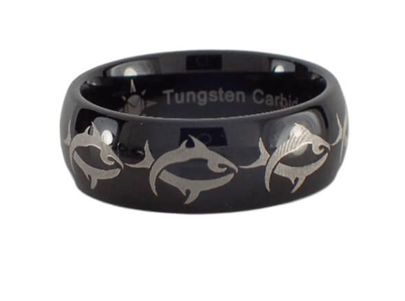 Tungsten Carbide Tribal Fishing Ring