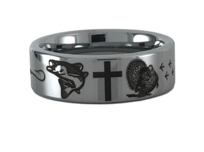 Tungsten Carbide Turkey Cross Bass Ring