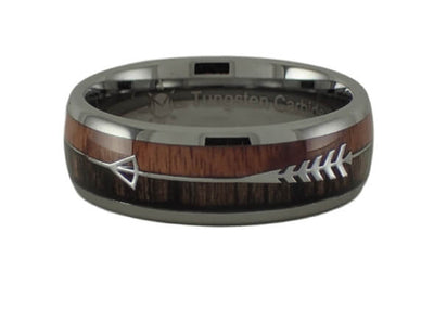 Tungsten Wood with Arrow Inlay Ring