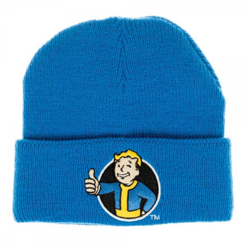 Fallout Vault Boy Embroidered Patch Logo Cuff Beanie Knit Lt Blue Hat Bethesda