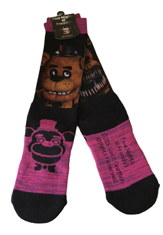 Five Nights at Freddy's Good Freddy / Creepy Freddy Doublesided Crew Socks NWT