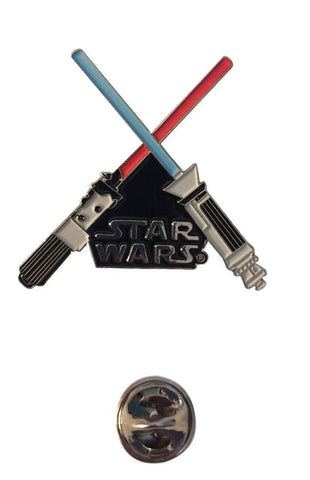 Star Wars Logo Crossed Lightsabers Metal Enamel Finish Pin