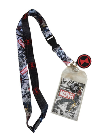 Black Widow Lanyard Keychain ID Badge Holder Collectible Sticker / Charm Marvel