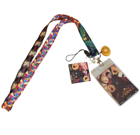 Doctor Strange Lanyard Keychain ID Holder With Screen Cleaner Charm Marvel