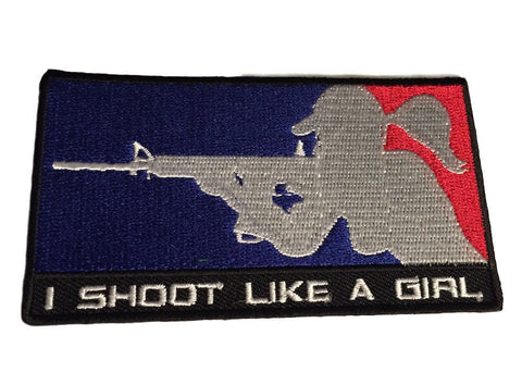 I Shoot Like A Girl Red, White & Blue Embroidered Iron On Patch