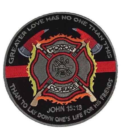 "Greater Love Firefighter Honor Courage Quote Embroidered 4 "" Wide Iron On Patch"
