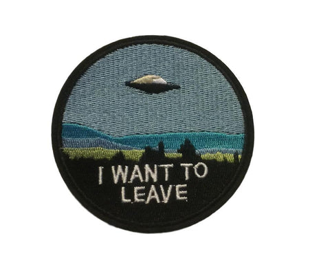 I Want To Leave Spaceship UFO Embroidered Logo Iron On Cosplay Patch