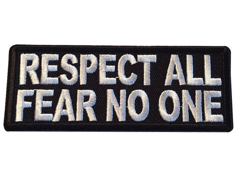 Respect All Fear No One Novelty Embroidered Cosplay Iron On Biker Patch