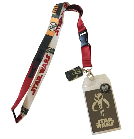 Star Wars Boba Fett Lanyard Id Holder With Charm & Collectible Sticker