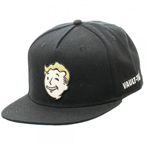 Fallout Vault-Tec Vault Boy Embroidered Patch Black Snapback Baseball Cap Hat