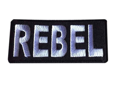 REBEL White on Black Logo Embroidered Iron On Patch