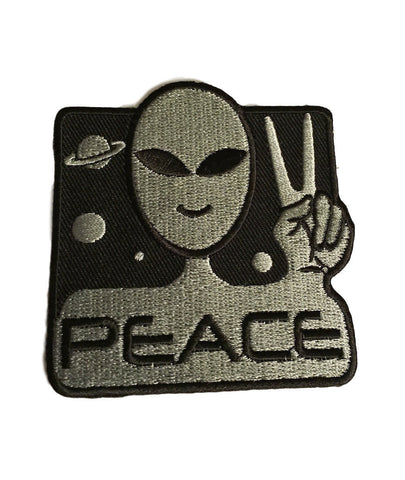 Alien Peace Sign UFO Sci Fi Cosplay Novelty Embroidered Iron On Patch