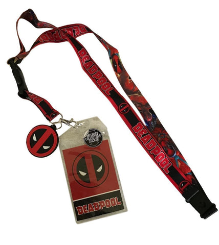 Deadpool Logo Poses D/S Lanyard ID Holder Charm & Detachable Key Fob