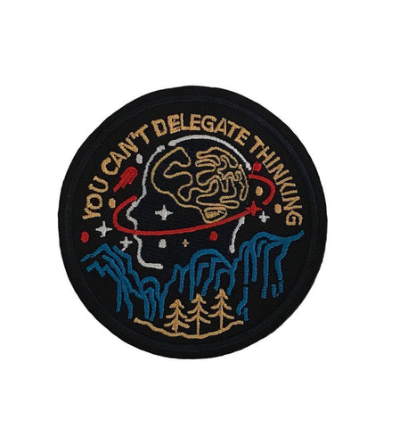 You Can't Delegate Thinking Biker Cosplay Embroidered Iron On Patch