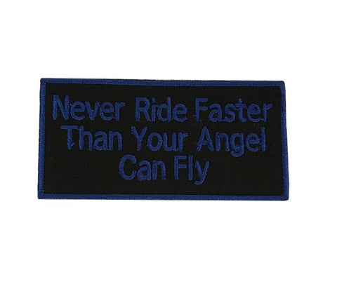 Never Ride Faster Than Your Angel Can Fly Cosplay Biker Steampunk Iron On Patch