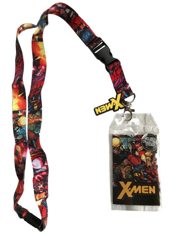 X-Men All Over Print Lanyard Id Holder With Charm & Collectible Sticker