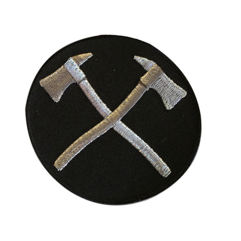 Crossed Axes FIREFIGHTER Embroidered Silver on Black Iron On Biker Patch