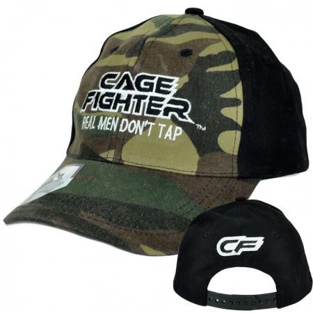 MMA Cage Fighter Real Men Camo and Black Baseball Cap Snapback Hat NWT