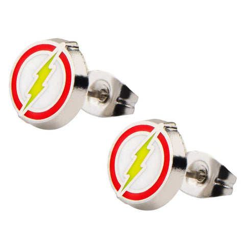 DC Comics The Flash Lightning Shield Enamel Logo Metal Stud Stainless Steel Post Earrings