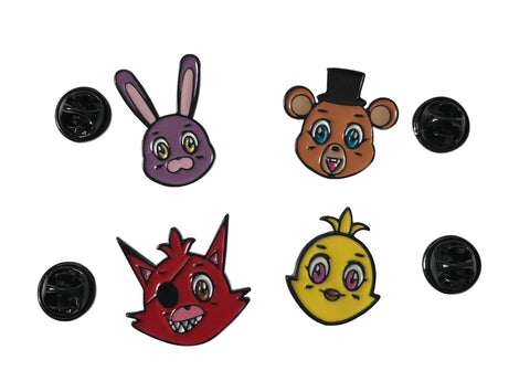 Five Nights At Freddy's Character Metal Pin Set of 4 Cosplay Lapel Pins