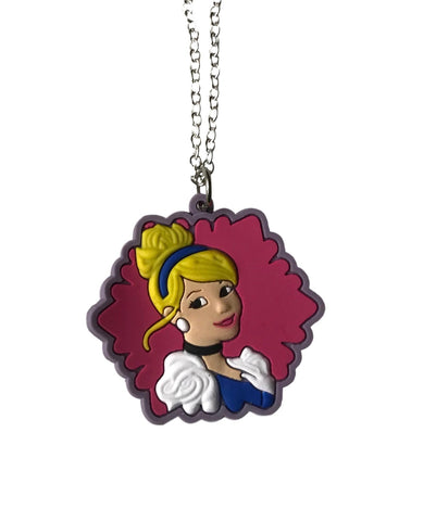 Cinderella Themed Embossed PVC Pendant Chain Necklace