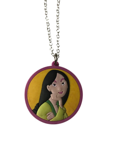 Princess Mulan Themed Embossed PVC Pendant Chain Necklace
