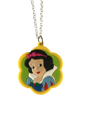 Snow White Portrait Themed Embossed PVC Pendant Chain Necklace