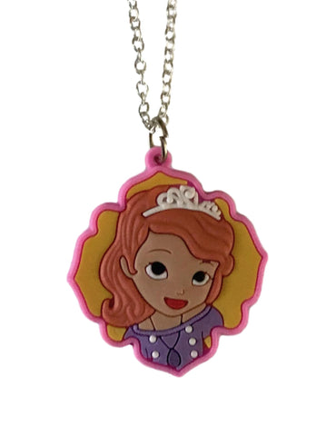 Princess Sofia Portrait Themed Embossed PVC Pendant Chain Necklace