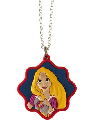 Princess Rapunzel Portrait Themed Embossed PVC Pendant Chain Necklace