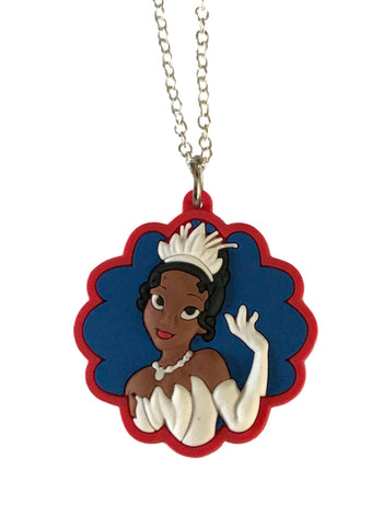Princess Tiana Portrait Themed Embossed PVC Pendant Chain Necklace