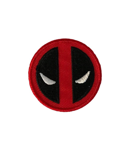 Deadpool Face Mask Round 1 5/8 Inch Round Iron On Patch
