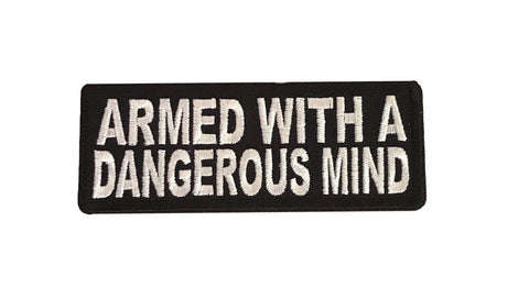 Armed With A Dangerous Mind Cosplay Steampunk Biker Embroidered Iron On Patch