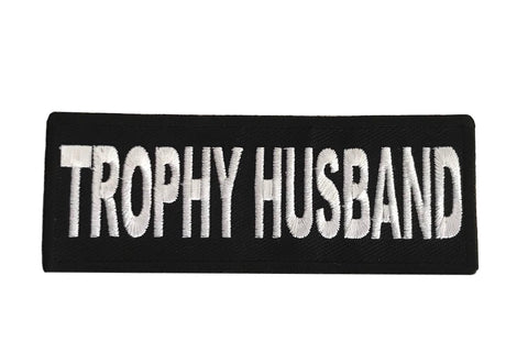 Trophy Husband Steampunk Novelty Biker Embroidered Iron On Patch