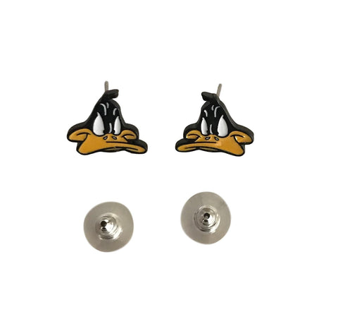 Daffy Duck Looney Tunes Novelty Enamel Metal Stud Earrings