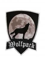 Wolfpack Howling Wolf Mid Size 3 1/8 Inch Wide Embroidered Iron On Patch