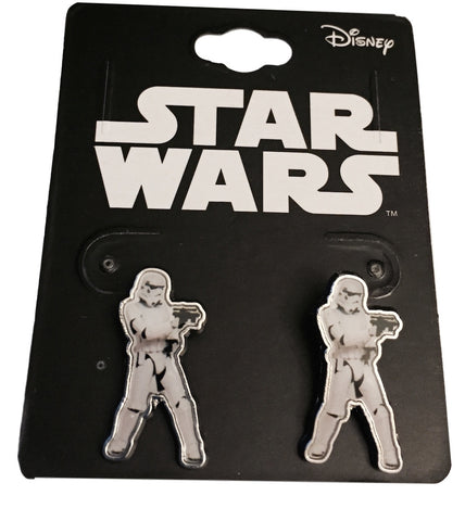 Star Wars 7 Storm Trooper Enamel Metal Figure Pieced Earrings
