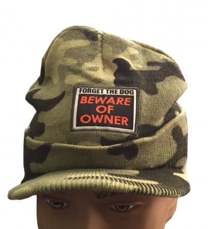 Forget The Dog Beware Of Owner Patch Camo Billed Beanie Knit Hat NWT