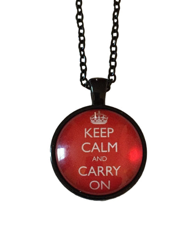 Keep Calm and Carry On White On Red Dome Glass Pendant Necklace
