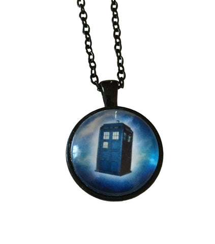 Tardis Doctor Who Blue, White  Black Chain Dome Pendant Necklace