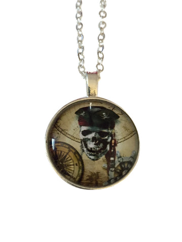 Pirate Skull Compass Design Dome Glass Pendant Necklace