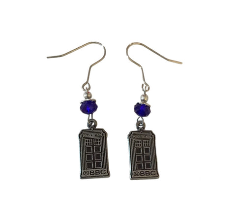 Doctor Who BBC Licensed Tardis Metal Dangle Earrings With Gems