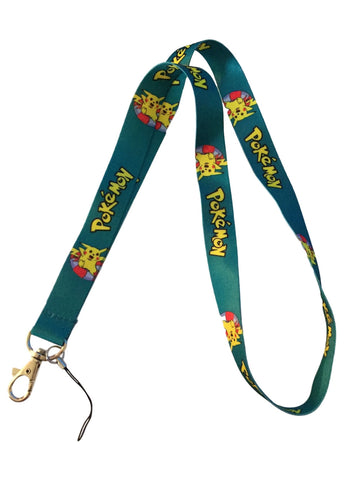 Pokemon Logo Pikachu Green Lanyard Keychain ID/Cell Phone Holder