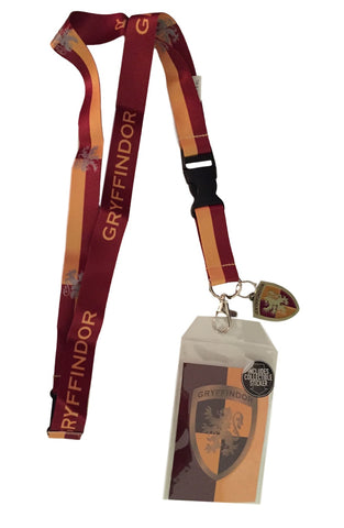 Harry Potter Gryffindor D/S Lanyard Keychain ID Badge Holder With Metal Charm