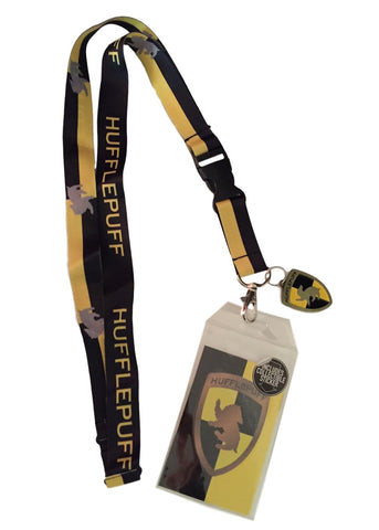 Harry Potter Hufflepuff D/S Lanyard Keychain ID Badge Holder With Metal Charm