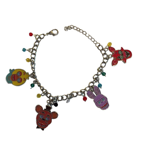 Five Nights at Freddys 4 Enamel Metal Charm Bracelet With Plastic Jewels