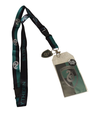 Harry Potter Slytherin D/S Lanyard Keychain ID Badge Holder With Metal Charm