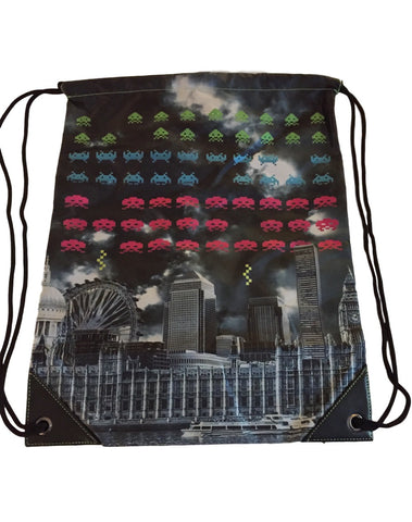 Space Invaders Classic Video Game Cinch Drawstring Bag Backpack Taito Licensed