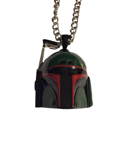 Star Wars Boba Fett Helmet Green Painted Enamel 3D Pendant Necklace Disney