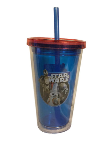 Star Wars Droids C3PO BB8 R2D2 Double Walled Cold Travel Cup with Straw BPA Free